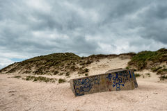 Old bunker on the beach in Sonderho, Fano  Denmark Royalty Free Stock Images