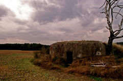 Old bunker in Czech Republic. Similar military bunkers can be found throughout southern Czech Republic. These old fortifications are harsh reminders of the cold Royalty Free Stock Photos