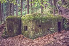 Old bunker from WWII period in Czech forest Stock Photo