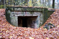 Old bunkers from World War II. German fortifications from the Po Stock Photo