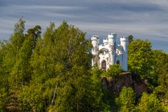 Old burial chapel in Monrepo landscape park. Vyborg, Russia stock photography