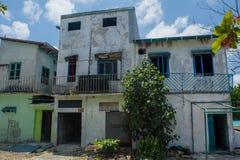 Old burned abandoned house at the street of Villingili island Royalty Free Stock Photo