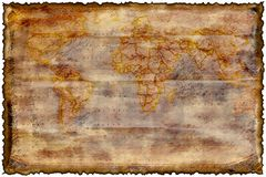 Old burned map. Texture with room to write royalty free illustration