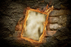 Old burning blank paper Royalty Free Stock Images