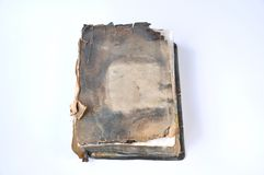 Old burnt bible book stock photos