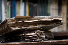 Old burnt book. Old paper sheets of antique burnt book stock photography