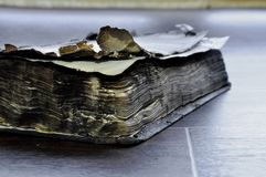 Old burnt book royalty free stock image