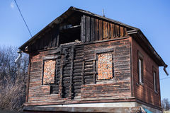 Old burnt house Royalty Free Stock Image