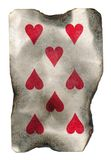 Old burnt playing card of hearts Stock Images