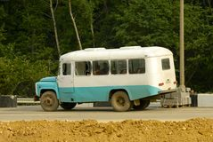 Old bus. On the road. Nikon D200 Royalty Free Stock Photography