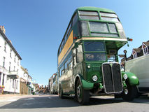 Old bus. Old green bus on the High Street of East Grinstead in the UK. Picture taken on 11 July 2009 Stock Images