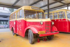 Old bus. A chinese ancient buses, driving on city roads in the 1950s to the 1960s.this photo was taken with hdr Royalty Free Stock Image