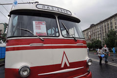 Old bus LAZ 695E shown at Moscow Transport Day celebration Royalty Free Stock Images