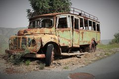 Old Bus. Out of the road Stock Image