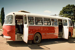 Old bus retro style2. Old, red, polish bus, called og�rek, used in 60s and 70s. Open door Stock Images