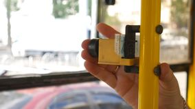 Old bus ticket sales system. CloseUp of Paying by on a Ticket Vending Terminal. Old bus ticket sales system. CloseUp of Paying by on a Ticket Vending Terminal stock video footage