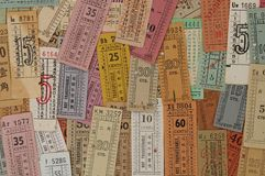 Old Bus Tickets Stock Photography