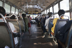 Old bus with wooden floor Stock Photos