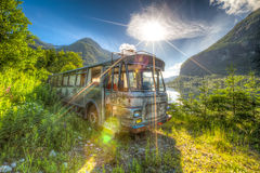 Old bus wreck, in HDR Royalty Free Stock Image
