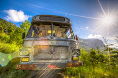 Old bus wreck, in HDR Royalty Free Stock Photography