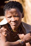 Old bushman woman. In a san village in namibia Royalty Free Stock Photo