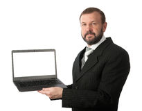 Old business man with a laptop Stock Photos
