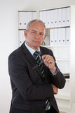 Old Business man in office Stock Photo