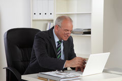Old Business Man With Laptop Stock Images