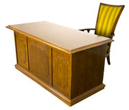 Old Business Office Desk and Chair Isolated Royalty Free Stock Images