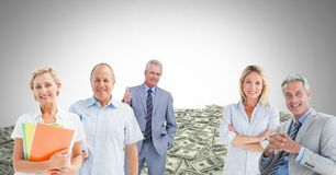 Old business people in front of money dollars stock photos