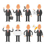 Old businessman in different poses Stock Photos
