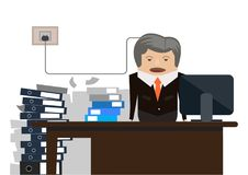 Old businessman stress & hard working illustration Royalty Free Stock Image