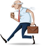 Old Businessman Walks with Briefcase and Coffee. A illustration of an old businessman walking with a briefcase and a hot take-away coffee cup vector illustration