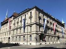 Old bussines palace in the city center of Zurich. Switzerland royalty free stock photo