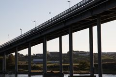 Bru. Old busy bridge ready for the night Royalty Free Stock Photography