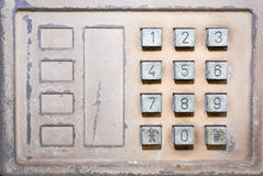Old button number public telephone Stock Images