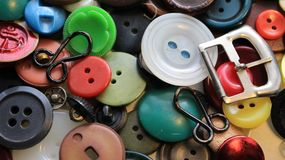 Old buttons of different colors and shades royalty free stock images
