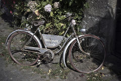 OLD BYCICLE. USED FOR ANNOUNCE AN ANTIQUARY Royalty Free Stock Image