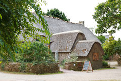 Old bygone typical rural wooden house, France. KERHINET,BRIERE, FRANCE - JULY 27, 2014: old bygone typical wooden house in Briere Regional Natural Park, France royalty free stock images