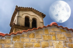Old Byzantine Church with Moon Royalty Free Stock Image