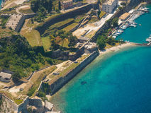 Old Byzantine fortress in Corfu. Aerial view of the Old Byzantine fortress in Corfu, Greece Royalty Free Stock Photos