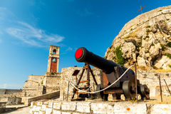 Old Byzantine fortress in Corfu, canal,  Greece. Inside old Byzantine fortress in Corfu - Vintage, photo taken in Greece Royalty Free Stock Photo