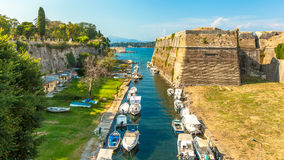 Old Byzantine fortress in Corfu, canal view - Greece. Old Byzantine fortress in Corfu, canal view , photo taken in Greece Stock Image
