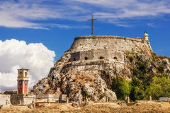 Old Byzantine fortress in Corfu Stock Photos