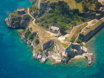 Old Byzantine fortress in Corfu, Greece. Aerial view of the Old Byzantine fortress in Corfu, Greece Stock Images