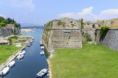 Old Byzantine fortress in Kerkyra. Canal in old Byzantine fortress in Kerkyra, Corfu island in Greece Stock Photo