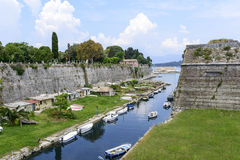 Old Byzantine fortress in Kerkyra. Canal in old Byzantine fortress in Kerkyra, Corfu island in Greece Stock Photography