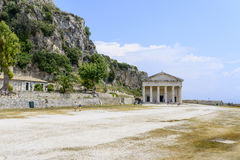 Old Byzantine fortress in Kerkyra. Tourists visit Saint George Church on the old Byzantine fortress on May 23, 2017 in Kerkyra, Corfu island in Greece Royalty Free Stock Image