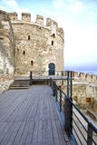 Old byzantine tower. At Thessaloniki city in Greece Royalty Free Stock Photos