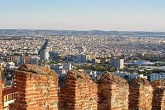 Old byzantine walls at Thessaloniki, Greecу Stock Photos